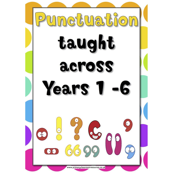 A3 Laminated - Punctuation Across the Years Poster Pack - 2014 Curriculum