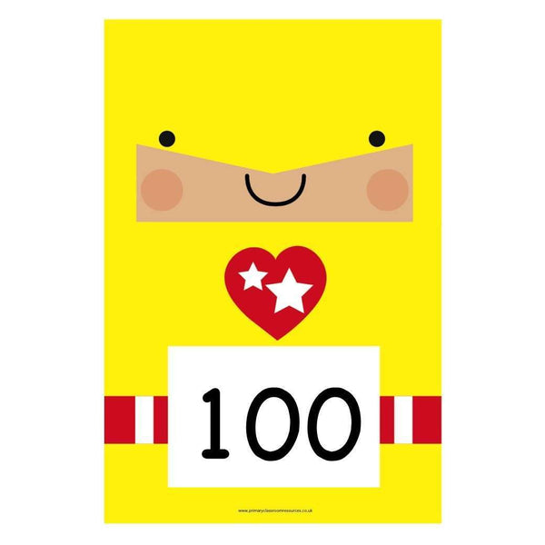 A4 Superhero Number Cards 100s to 1000:Primary Classroom Resources