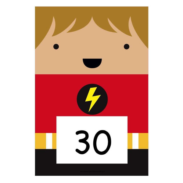 A4 Superhero Number Cards 10s to 100