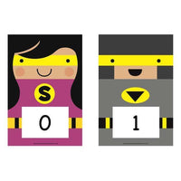 A5 Superhero Number Cards 0-20, 10s to 100, 100s to 1000:Primary Classroom Resources