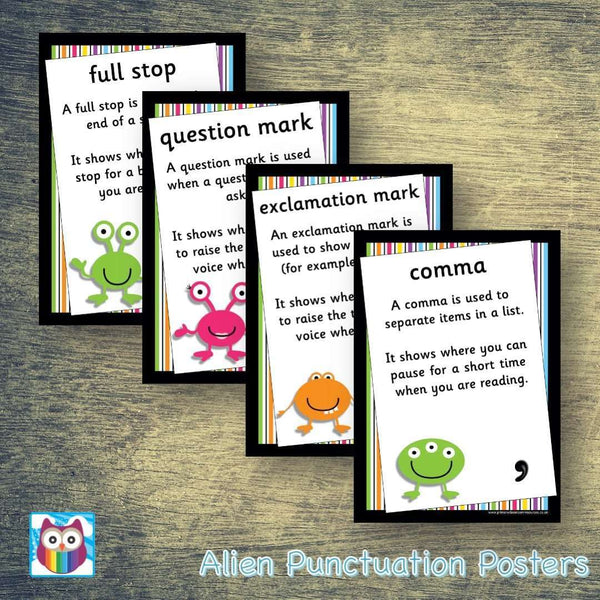 Alien Punctuation Posters:Primary Classroom Resources