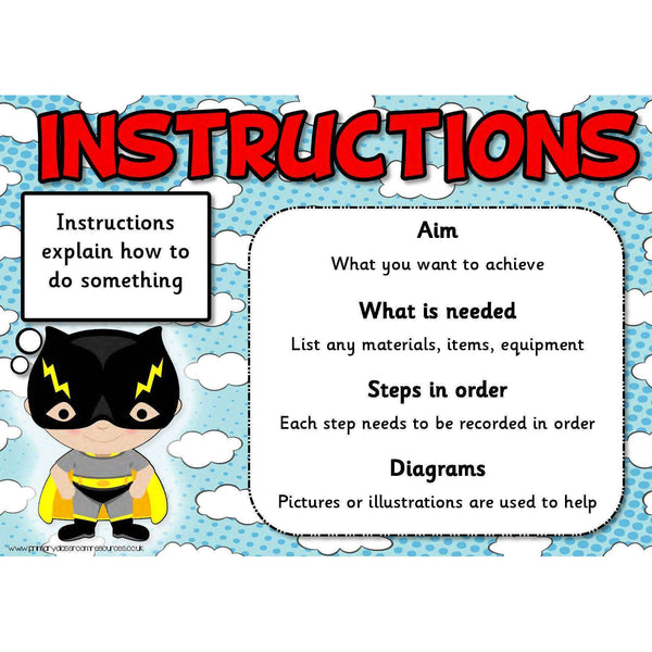 All About Instructions Posters:Primary Classroom Resources