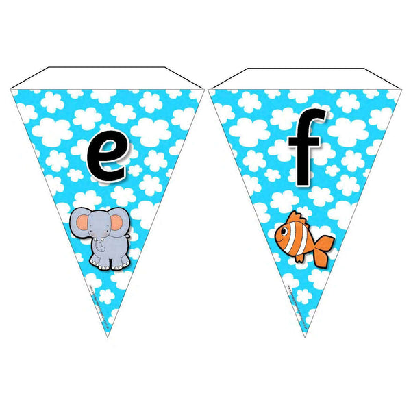 Alphabet Bunting with pictures - Lower Case Letters:Primary Classroom Resources
