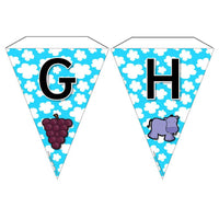 Alphabet Bunting with pictures - Upper Case Letters:Primary Classroom Resources