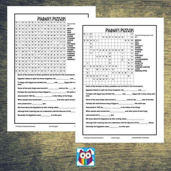 Ancient Egypt Crossword:Primary Classroom Resources
