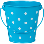 Aqua Polka Dots Metal Bucket:Primary Classroom Resources