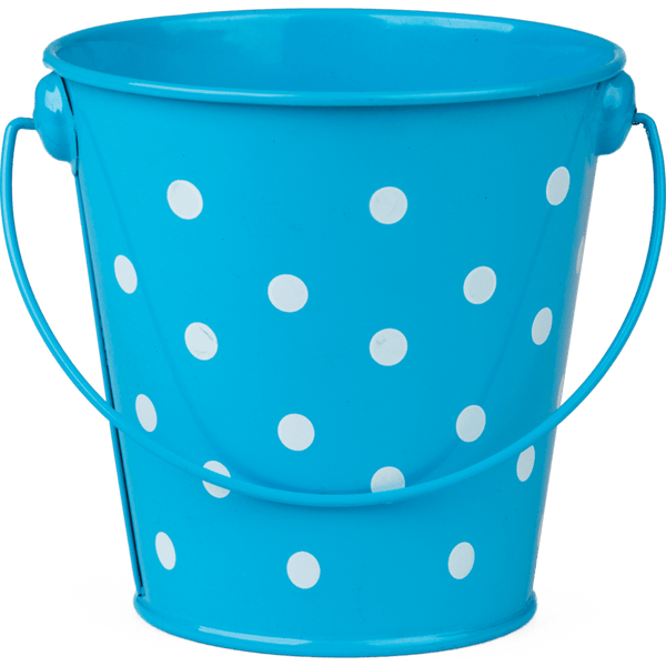 Aqua Polka Dots Metal Bucket