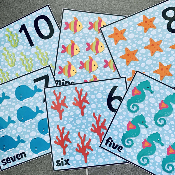 Arty Ocean Number Cards:Primary Classroom Resources