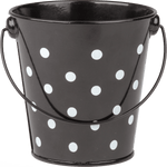 Black Polka Dots Metal Bucket