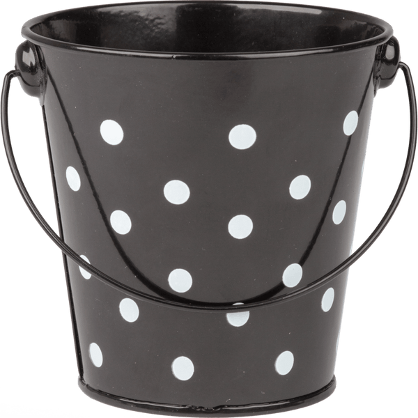 Black Polka Dots Metal Bucket:Primary Classroom Resources