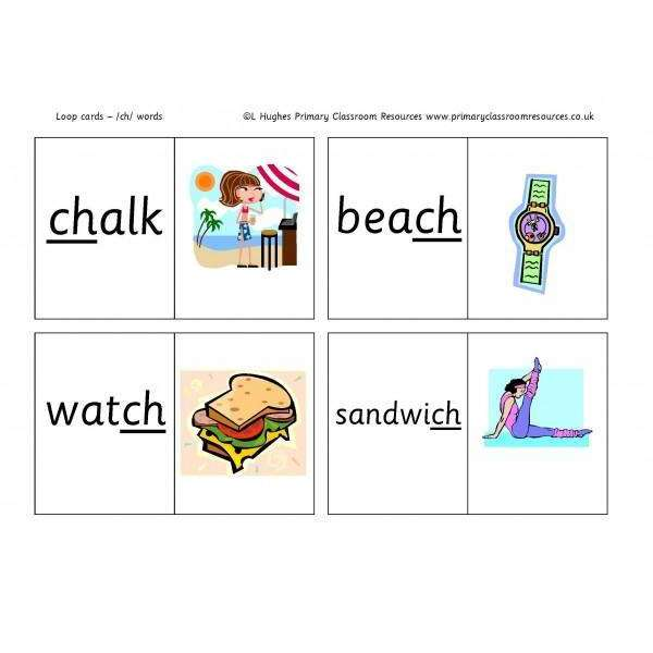 ch Word Loop Cards:Primary Classroom Resources