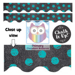 Chalk It Up Dots on Chalkboard Turquoise Classroom Display Border:Primary Classroom Resources