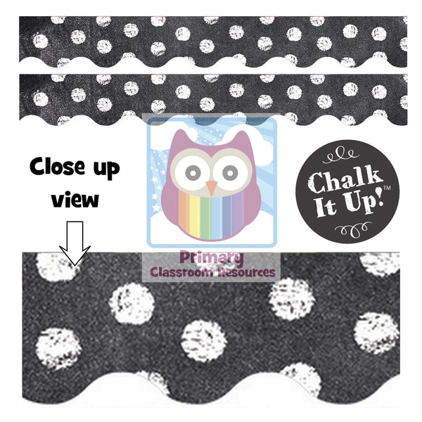 Chalk It Up! Dots on Chalkboard! White Dots Display Border
