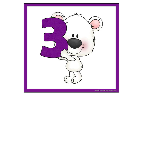 Chalky Bear Number Frieze Cards 0-10