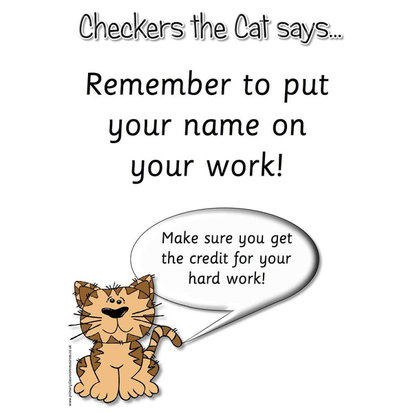 Checkers the Cat says Check Your Work!