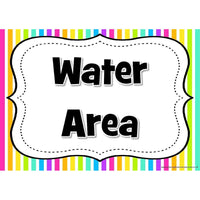 Classroom Area Signs -  Rainbow Striped Theme