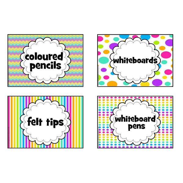 Classroom Supplies Labels - Mixed Rainbow Theme