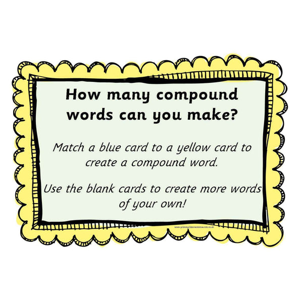 Compound Words Activity:Primary Classroom Resources
