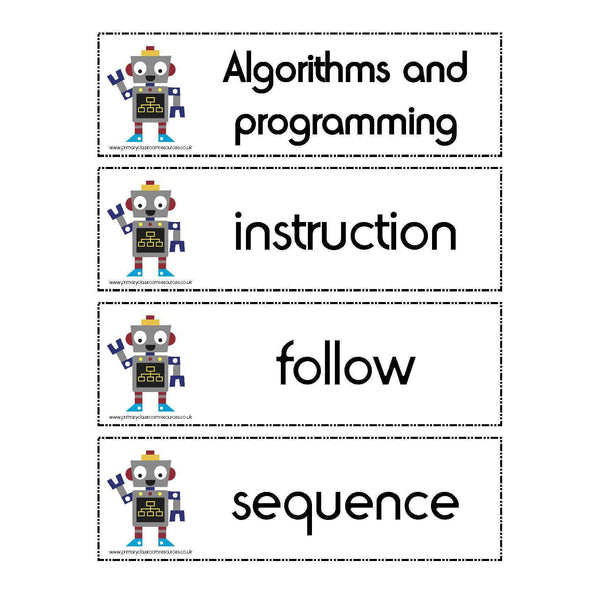 Computing Year 1 Vocabulary - Algorithms and programming:Primary Classroom Resources