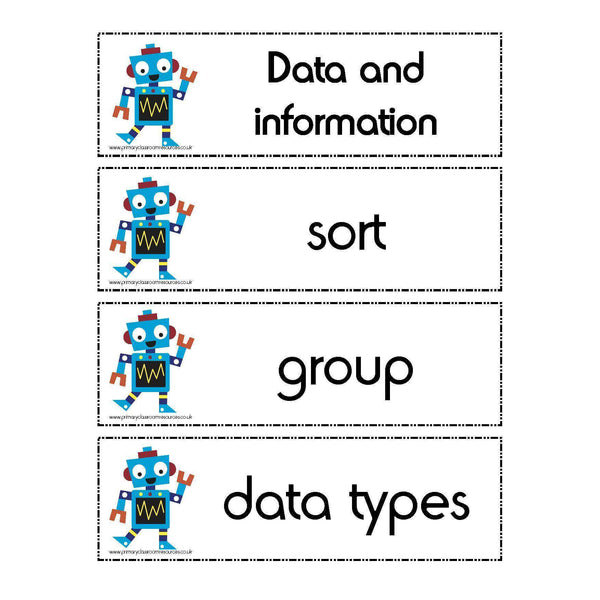 Computing Year 1 Vocabulary - Data and information:Primary Classroom Resources