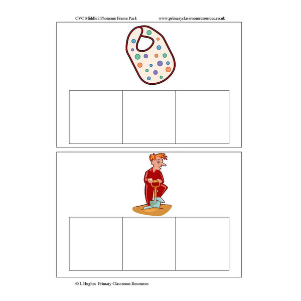 CVC Middle I Phoneme Frames:Primary Classroom Resources
