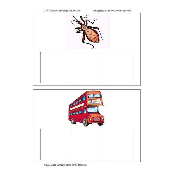 CVC Middle U Phoneme Frames:Primary Classroom Resources