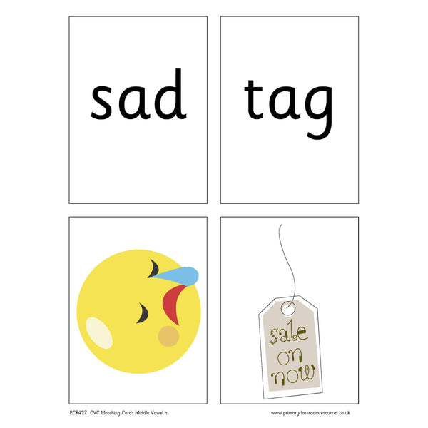 CVC Words Matching Cards -  Middle Vowel a