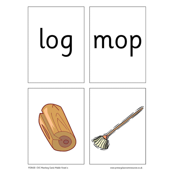 CVC Words Matching Cards -  Middle Vowel o