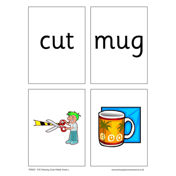 CVC Words Matching Cards -  Middle Vowel u