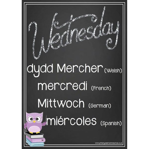 Days of the Week Owl Blackboards -  Welsh, French, German, Spanish:Primary Classroom Resources
