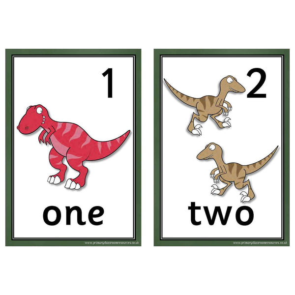 Dinosaur Number Cards 0-10