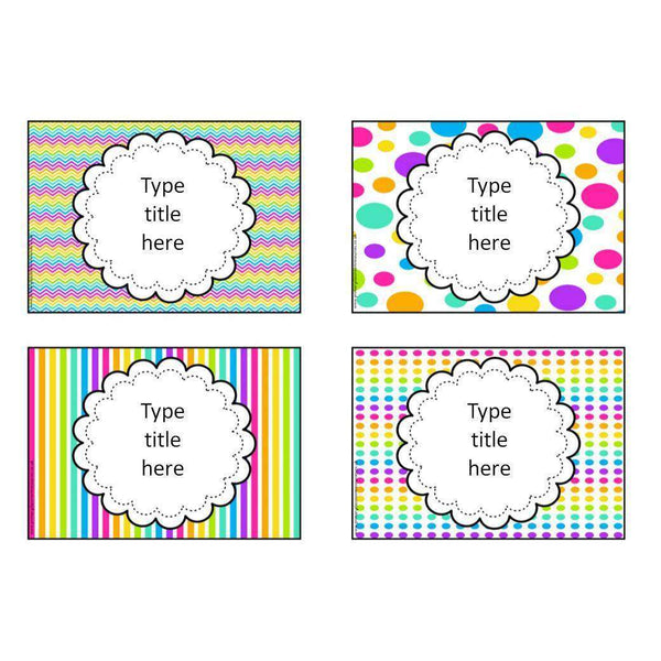 EDITABLE Classroom Supplies Labels - Mixed Rainbow Theme