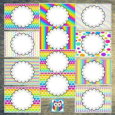 EDITABLE Display Headers - Mixed Rainbow Theme