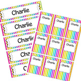 EDITABLE Name Tray & Coat Peg Labels Bundle:Primary Classroom Resources,Digital download / Rainbow stripe set 2