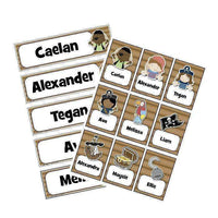 EDITABLE Name Tray & Coat Peg Labels Bundle:Primary Classroom Resources,Digital download / Pirate kids