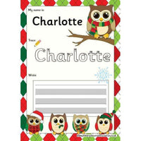 EDITABLE Name Writing Cards - Choose your theme!:Primary Classroom Resources,Christmas Owl