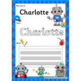 EDITABLE Name Writing Cards - Choose your theme!:Primary Classroom Resources,Robot