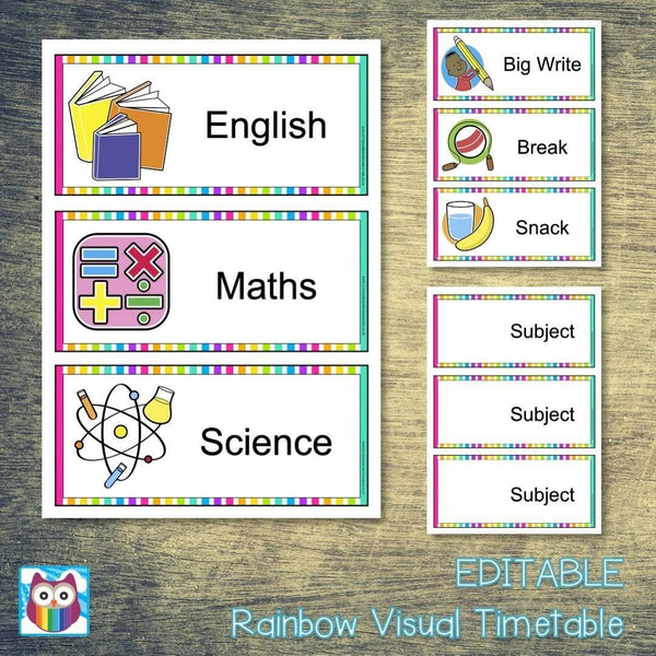 EDITABLE Rainbow Visual Timetable:Primary Classroom Resources