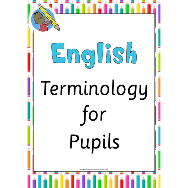 English Terminology Posters:Primary Classroom Resources