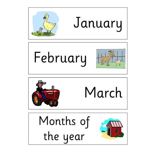 Farm Days Months and Numbers Keywords