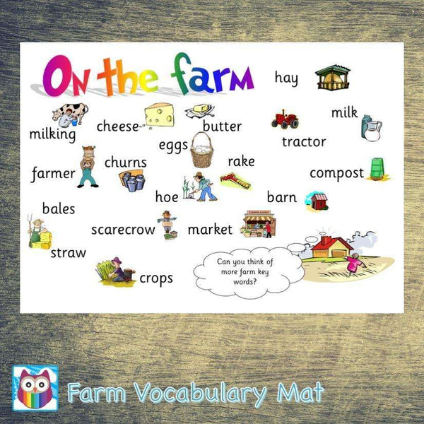 Farm Vocabulary Mat:Primary Classroom Resources,Digital download
