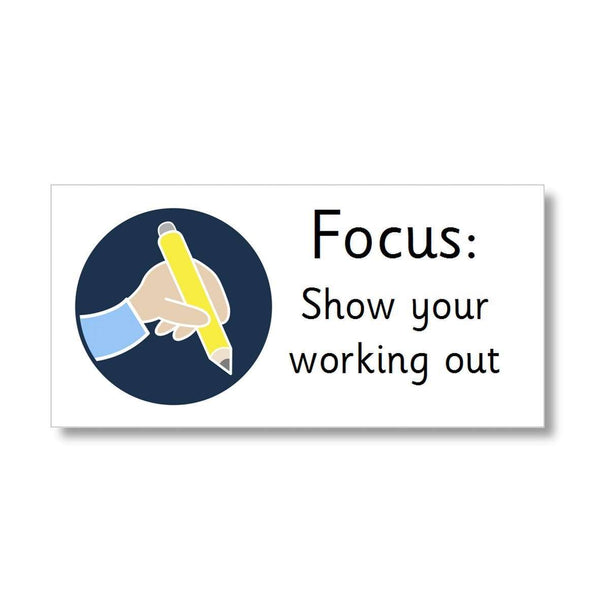Focus Marking Stickers - Show your working out:Primary Classroom Resources