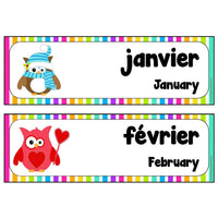 French-English Months Cards:Primary Classroom Resources