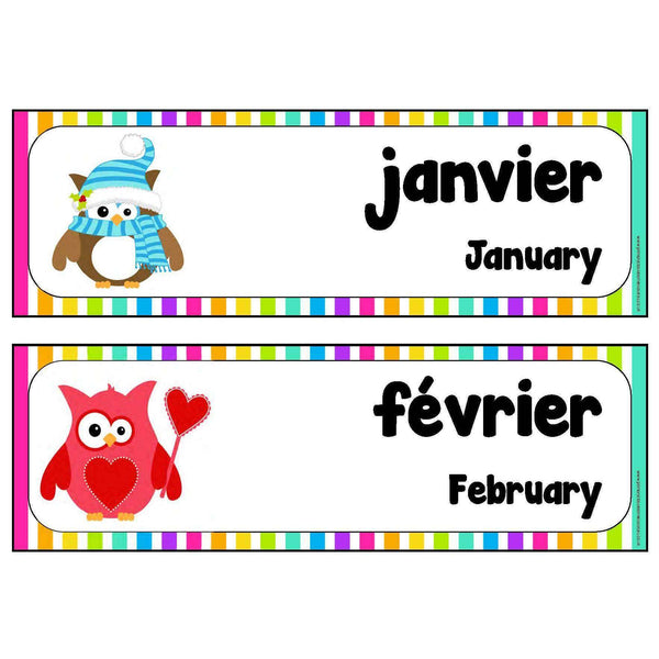 French-English Months Cards