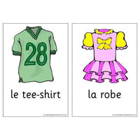 French Vocabulary Cards - Clothes:Primary Classroom Resources
