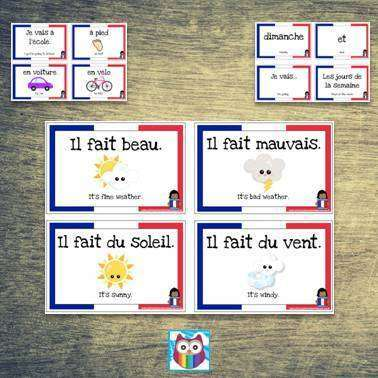 French Vocabulary Cards - Days of the Week, Weather and Transport:Primary Classroom Resources
