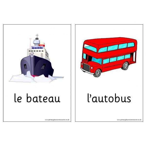 French Vocabulary Cards - Transport