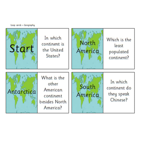 Geography Loop Cards:Primary Classroom Resources