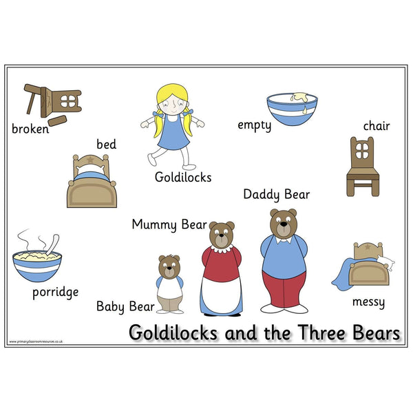 Goldilocks and the Three Bears Vocabulary Mat