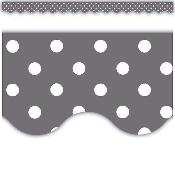 Grey Polka Dots Scalloped Display Border